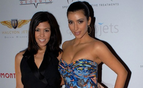 Kim & Kourtney Kardashian @ 2009 Moves Magazine Super Bowl Party