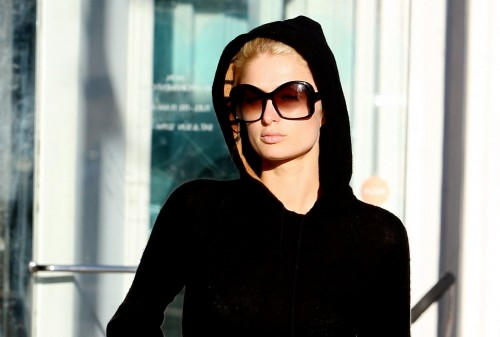 Paris Hilton and her hoodie
