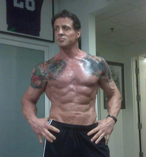 "Sylvester Stallone getting ready for ""The Expendables"""