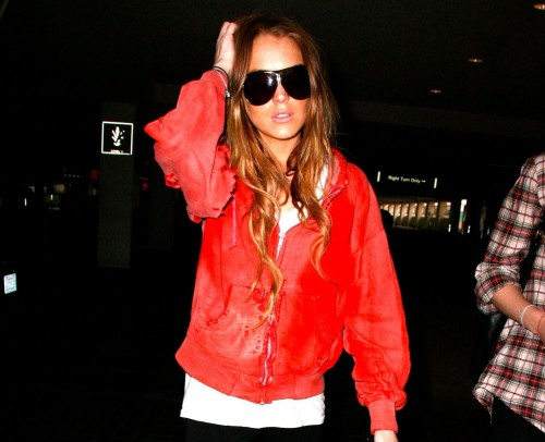 Lindsay Lohan in leggings