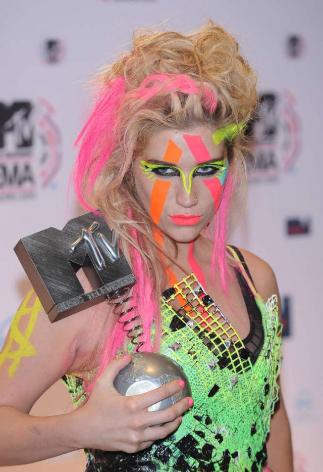 Kesha with her award at the MTV EMA 2010 in Madrid, Spain