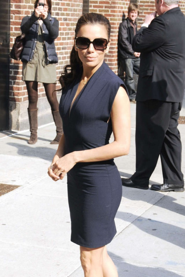 "Eva Longoria arriving at the ""Late Show With David Lettermen"" with her hairdressing pal, Ken Paves"