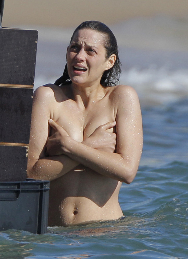 Marion Cotillard Braves The Cold Water Topless
