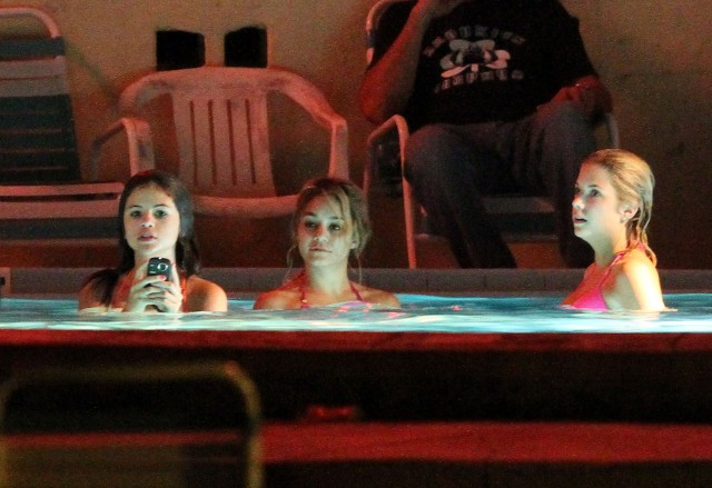 Vanessa, Selena And Ashley Film A Hot Tub Scene