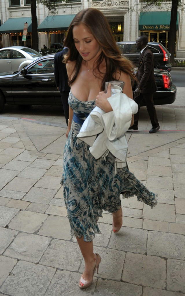 Minka Kelly strolls in Washington DC in low cut summer dress