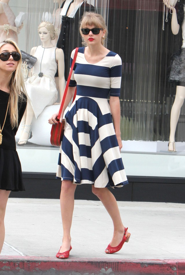 Taylor Swift Showing Off Her Stripes In Beverly Hills