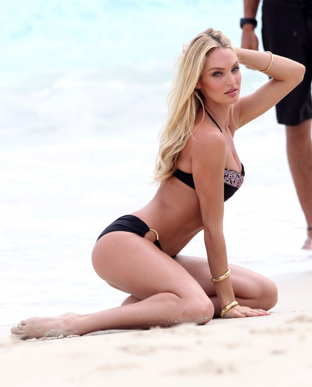 Candice Swanepoel Models Bikinis On The Beach