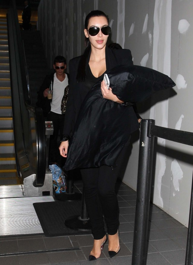 Kim Kardashian Is Beautiful In Black, Even Her Pillow, When Arriving At LAX