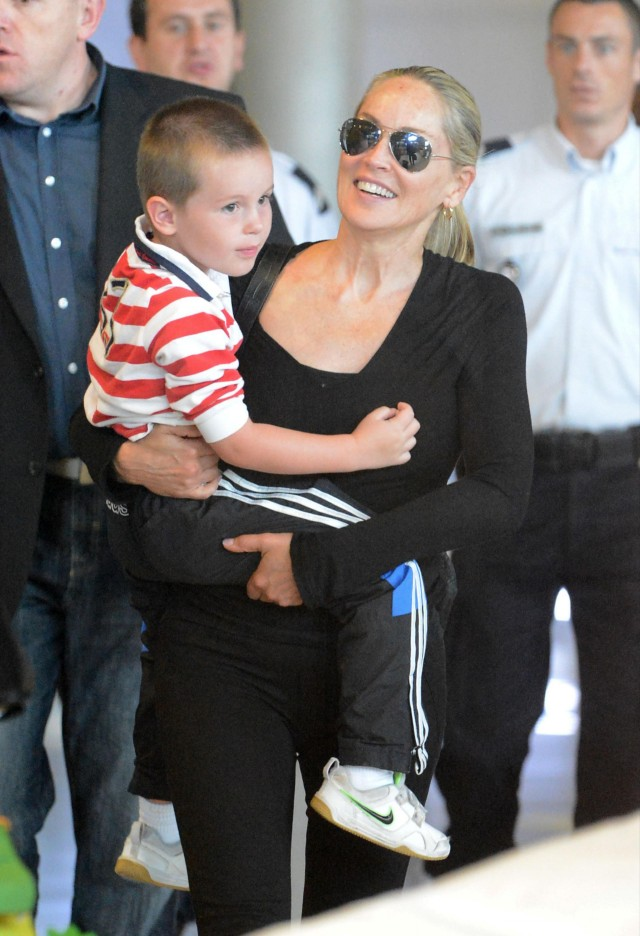 Sharon Stone & Son Touch Down In Paris