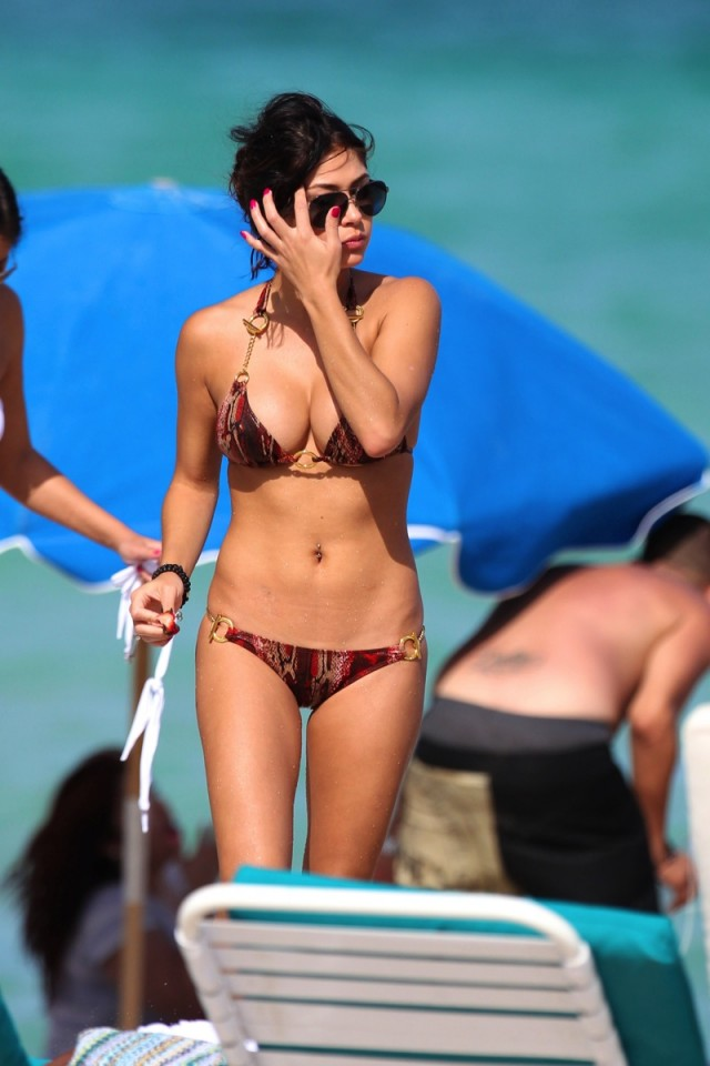 Arianny Celeste in a brown bikini at the beach with friends in Miami
