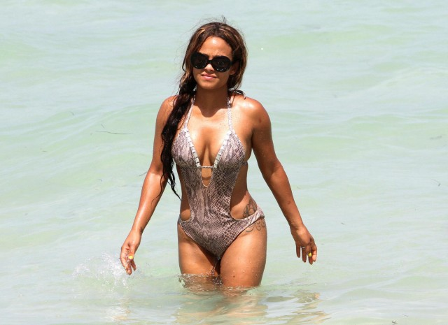 Christina Milian Gives a Little Peep Show on a Miami Beach