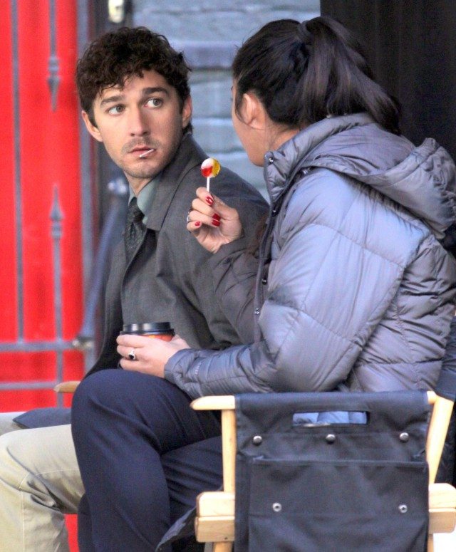 Shia LaBeouf And Karolyn Pho Enjoying Lollipops On Set