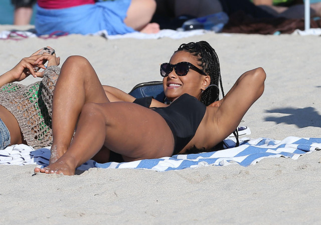 Christina Milian Enjoying A Day On The Beach In Miami