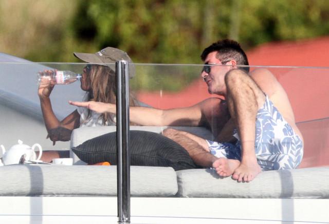 simon cowell soaks up the sun on a yacht in st barts