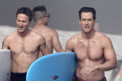 Breckin Meyer & Mark-Paul Gosselaar Film In Malibu