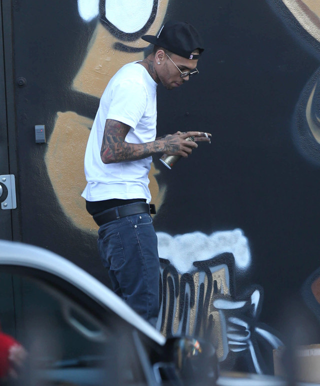 Chris brown spray paints a mural in miami 141405 for Chris brown mural