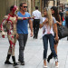 Jaden Smith seen wearing a 'IronMan' costume while leaving a restaurant with his rumored girlfriend Kylie Jenner in New York