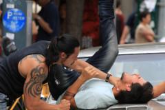 Taylor Lautner Gets Beat Up On Set