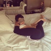 Hilaria Baldwin Yoga Posing