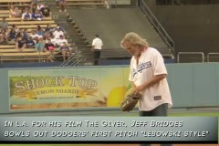 Jeff Bridges Bowls the First Pitch at an LA Dodgers Game, Lebowski-Style