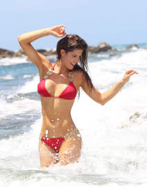Amanda Cerny Shows Off Her Bikini Body On The Set Of A Music Video