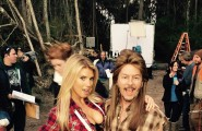 Charlotte McKinney David Spade On Set Filming Joe Dirt 2 Beautiful Loser