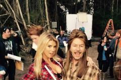 Charlotte McKinney David Spade On Set Filming Joe Dirt 2 Beautiful Loser
