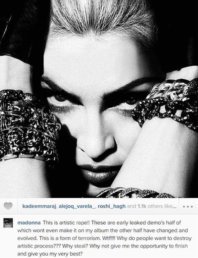 Madonna compares album leak to artistic rape.