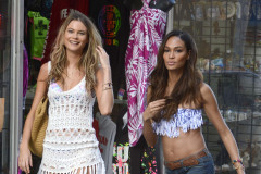 Behati Prinsloo & Joan Smalls Shooting A Commercial In Puerto Rico