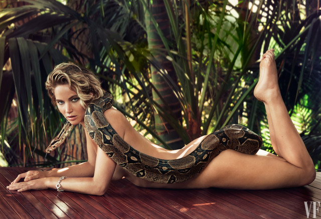 Jennifer Lawrence on a Patrick Demarchelier photo shoot with a boa constrictor wrapped around her