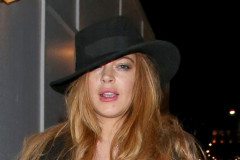 """Exclusive... 51721529 """"Mean Girls"""" star Lindsay Lohan enjoys a night out at Hakkasan in London, England on April 23, 2015. Lindsay showed off a large ring on her ring finger (along with cigarette stains on her other fingers). FameFlynet, Inc - Beverly Hills, CA, USA - +1 (818) 307-4813 RESTRICTIONS APPLY: USA ONLY"""