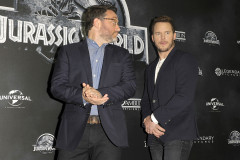51760537 Actor Chris Pratt and director Colin Trevorrow attend the 'Jurassic World' Berlin photocall at The Regent Hotel on June 1, 2015 in Berlin, Germany. FameFlynet, Inc - Beverly Hills, CA, USA - +1 (818) 307-4813 RESTRICTIONS APPLY: USA ONLY - NO WEBSITE USE