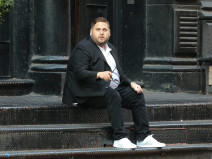 51783554 'The Wolf Of Wall Street' actor Jonah Hill stops to wait on some stairs for his ride while out and about in New York City, New York on June 16, 2015. Rumors have been swirling that Jonah's friends are very concerned about him because his weight has exceeded 300 pounds. FameFlynet, Inc - Beverly Hills, CA, USA - +1 (818) 307-4813