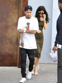 """51761076 17 year old reality star Kylie Jenner and her 25 year old rapper boyfriend Tyga are spotted out and about in Beverly Hills, California on June 1, 2015. Kylie recently denied recent pregnancy rumors on Twitter, tweeting, """"People been thinking I'm pregnant for 8 months now... CLEARLY I'm not pregnant!"""" FameFlynet, Inc - Beverly Hills, CA, USA - +1 (818) 307-4813"""