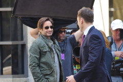 51768714 Actors Gillian Anderson and David Duchovny are spotted on the set of 'The X-Files' filming in Vancouver, Canada on June 9, 2015. 'The X-Files' returns for six new episodes this coming January on Fox. Also on set was series creator Chris Carter and actor Joel McHale. FameFlynet, Inc - Beverly Hills, CA, USA - +1 (818) 307-4813