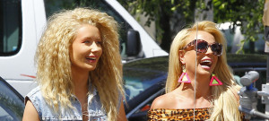 51705490 Pop star Britney Spears and rapper Iggy Azalea are spotted filming scenes for a new music video in Studio City, California on April 9, 2015. Both stars were rocking big hair and lots of denim during the 80's themed shoot! FameFlynet, Inc - Beverly Hills, CA, USA - +1 (818) 307-4813
