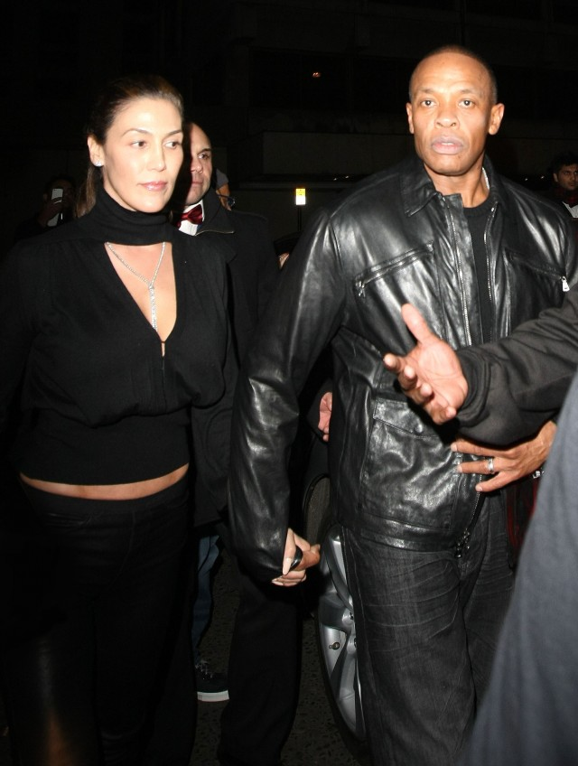 50940291 Rapper and producer Dr.Dre and wife Nicole Threatt spotted out in London at the Rose Bar on November 9th, 2012. FameFlynet, Inc - Beverly Hills, CA, USA - +1 (818) 307-4813 RESTRICTIONS APPLY: USA/AUSTRALIA ONLY