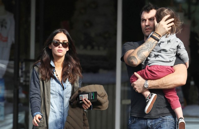 51608428 'Zeroville' actress Megan Fox and husband Brian Austin Green are spotted out and about with their son Noah in Bel Air, California on December 15, 2014. Earlier this month the busy parents were hit by a drunk driver but didn't suffer any injuries. FameFlynet, Inc - Beverly Hills, CA, USA - +1 (818) 307-4813