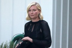 Kirsten Dunst Gets Picked Up By A Limo At Her House