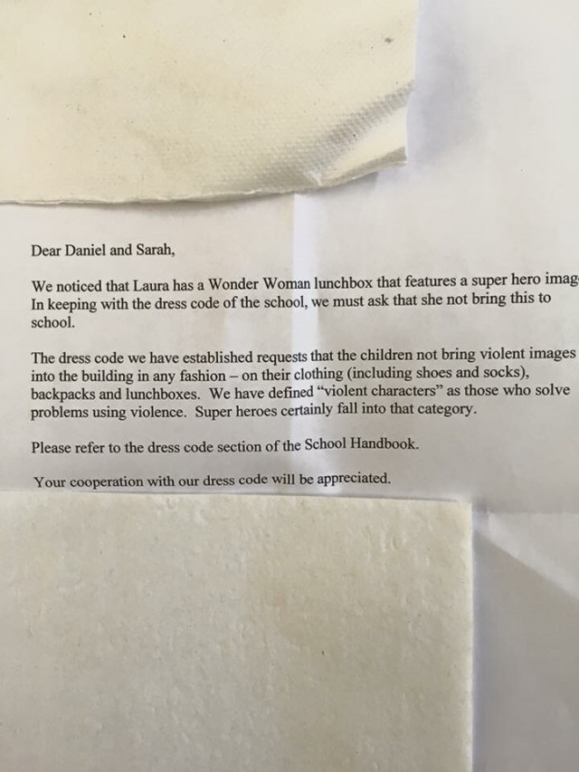 Letter to Laura's Wonder Woman Lunch Box Parents