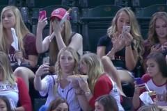 sorority girls selfies at baseball game