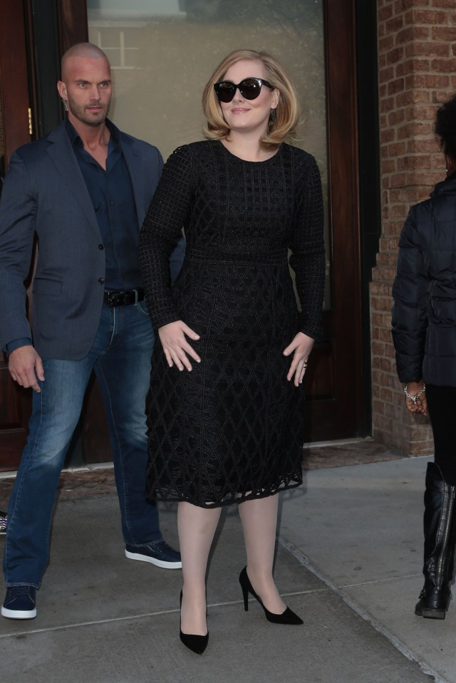 51909840 Singer Adele greets fans as she steps out in New York City on November 16, 2015. FameFlynet, Inc - Beverly Hills, CA, USA - +1 (818) 307-4813