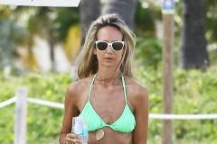 51920143 British socialite Lady Victoria Hervey shows off her slim bikini body while enjoying a beach day in Miami, Florida on December 1, 2015. Victoria was accompanied by her Norfolk terrier, D'Artagnan. FameFlynet, Inc - Beverly Hills, CA, USA - +1 (818) 307-4813