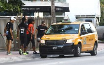 51929086 Tennis superstar Serena Williams had to leave her Sunday morning marathon early due to some seemingly minor leg problems as she took a taxi away from the event in Miami, Florida on December 13, 2015. FameFlynet, Inc - Beverly Hills, CA, USA - +1 (818) 307-4813