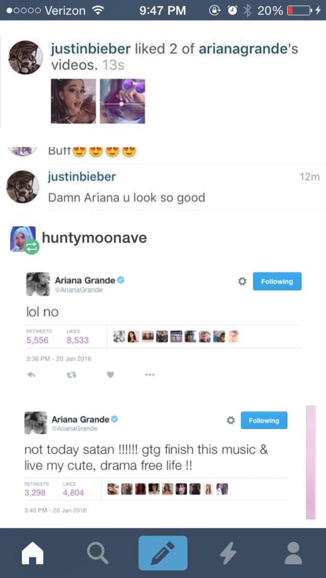 Justin Bieber Ariana Grande Instagram Comment