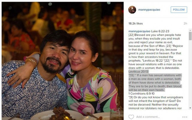 Pacquiao Bible Quoting Instagram
