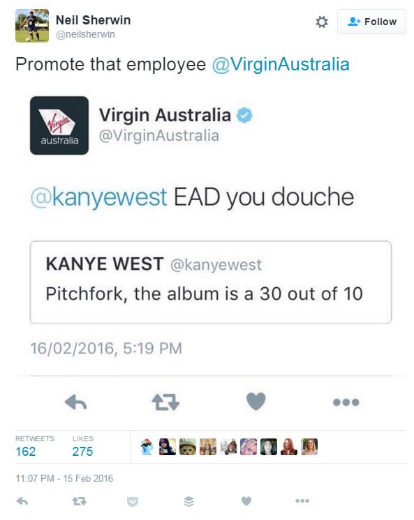 kanye virgin eat a dick tweet