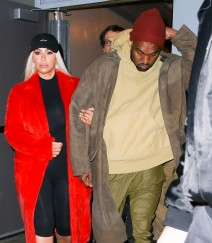51969150 Reality star Kim Kardashian and rapper Kanye West were seen leaving 'Hamilton' the musical on Broadway in New York City, New York on February 12, 2016.  Kim wore a platinum blonde wig, which create a stark contrast against her red coat. Kanye has stirred the pot yet again with Taylor Swift and now her entourage of friends are backlashing against the rapper. Reality star Kim Kardashian and rapper Kanye West were seen leaving 'Hamilton' the musical on Broadway in New York City, New York on February 12, 2016. Kim wore a platinum blonde wig, which create a stark contrast against her red coat. Kanye has stirred the pot yet again with Taylor Swift and now her entourage of friends are backlashing against the rapper. FameFlynet, Inc - Beverly Hills, CA, USA - +1 (310) 505-9876