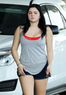 Ariel Winter Gasses Up Her Car In Beverly Hills