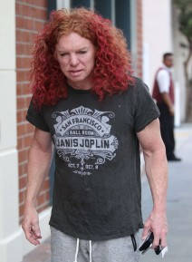 Comedian Carrot Top stops by a doctors office in Beverly Hills, California on March 3, 2016. He was sporting orange painted toe nails as he was out in Beverly Hills.